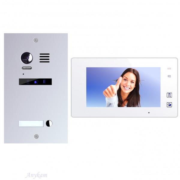 Farb-Video-Türsprechanlage in 2-Draht-Technik für 1-Familienhaus mit Touch-Screen TFT-Monitor und Bi