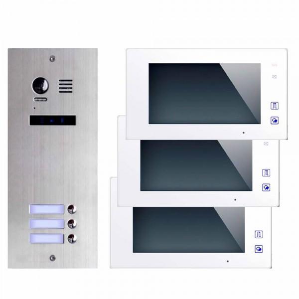 Farb-Video-Türsprechanlage in 2-Draht-Technik für 3 Teilnehmer mit ...