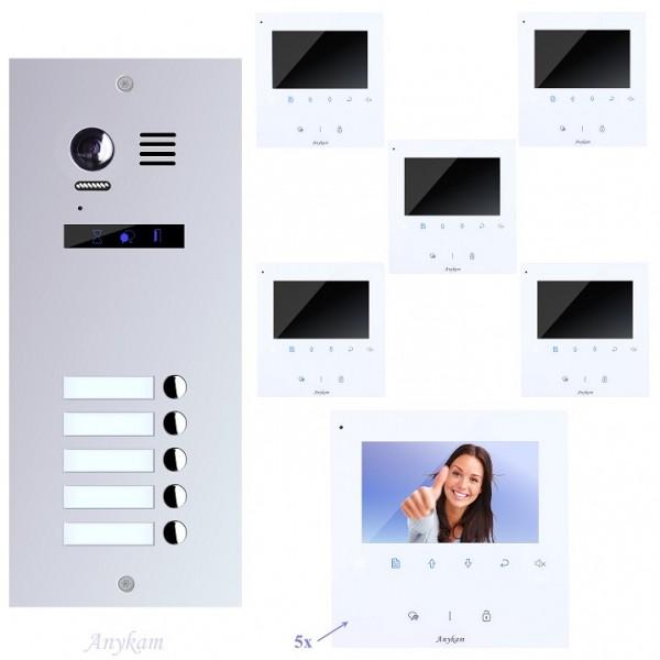 Videosprechanlage für 5-Familienhaus, mit bester 2-Draht-Technologie, Edelstahl Aussenstation ES5-f