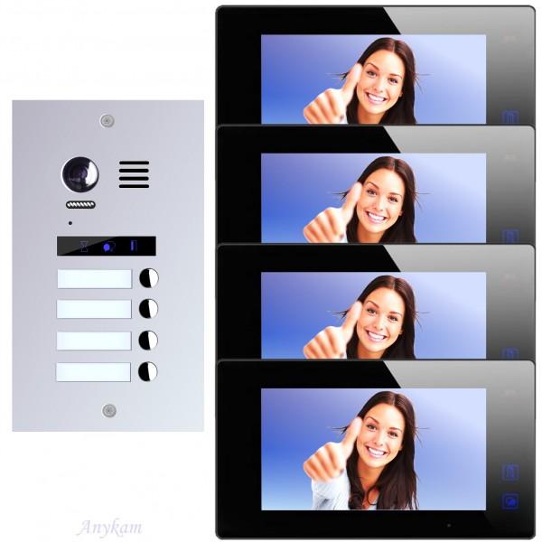 Videosprechanlage für 4-Familienhaus, mit bester 2-Draht-Technologie, 2-Megapixel Fischaugenkamera-