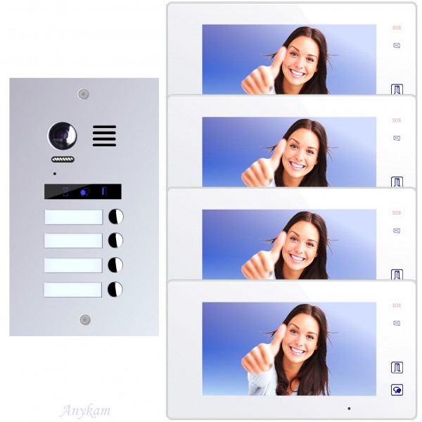 Videosprechanlage für 4-Familienhaus, mit bester 2-Draht-Technologie, 2-Megapixel Fischaugenkamera